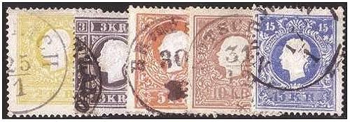 Goldhahn  erreich Nr. 10-15I gestempelt Kaiser Franz Joseph Freimarken 1858  Briefürken für Sammler