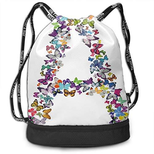 DPASIi Mochilas con cordón para el día, la primera letra del alfabeto en forma de mariposa, varios colores, cierre de cuerda ajustable.