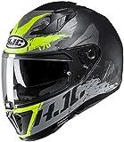 HJC Helmets Unisex-Adult i70 Full Face Helmet (Flat Black/Gray/Hi-Vis Green, Medium)