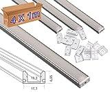 JANDEI - 4 * 1 metro Perfil aluminio tira led superficie con tapa traslúcida 12,3x6,08mm