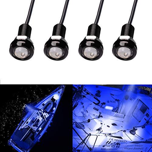 Electrely Luces de Navegación para Barcos, 4 Piezas 12V Luces Interiores LED Lámpara de Navegación Luz de Anclaje Barco Yate Luz Marina Luz Impermeable para Barco Yate (Azul)