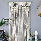 Wuyanse tapiz de pared de macramé, cortina colgante de ventana de puerta boho tapicería de pared tejida hecha a mano de algodón decoración de boho de pared para apartamento dormitorio boda