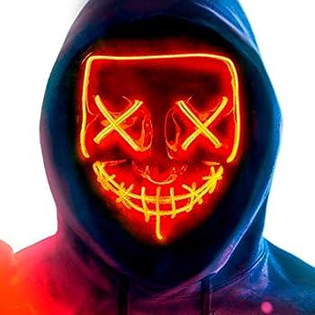 MeiGuiSha LED Halloween Light Up Purge Mask Women,Halloween Scary Cosplay Purge Mask LED for Festival Padrties Orange
