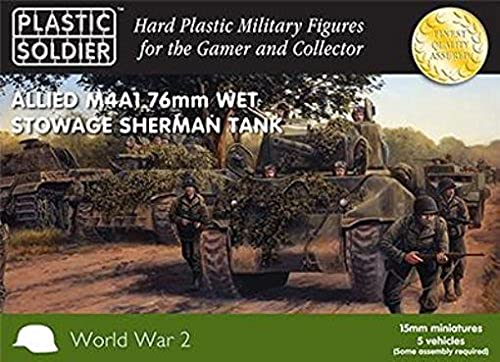 15mm Easy Assembly Sherhomme M4A1 76mm Wet Tank (5 Box) (noir BOX) by Plastic Soldier Company