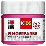 Marabu 03030050033 - Kids Fingerfarbe pink 100 ml, Fingermalfarbe auf Wasserbasis, parabenfrei, vegan, laktosefrei, glutenfrei, geeignet zum Malen in Kindergarten, Schule, Therapie und zu Hause
