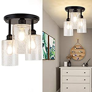 DLLT Semi Flush Mount Ceiling Light Farmhouse, Clear Glass Chandelier Ceiling Light Fixture with 3-Light for Dining Room, Hallway, Kitchen, Bedroom, Entryway, E26 Base Black