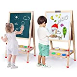 Kids Easel,Deluxe Wooden Magnetic Drawing Board Easel for Kids and Toddlers,Height Adjustable