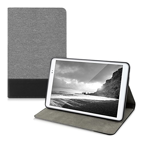kwmobile Case Compatible with Huawei MediaPad T1 10 - PU Leather and Canvas Cover with Stand Feature - Grey/Black