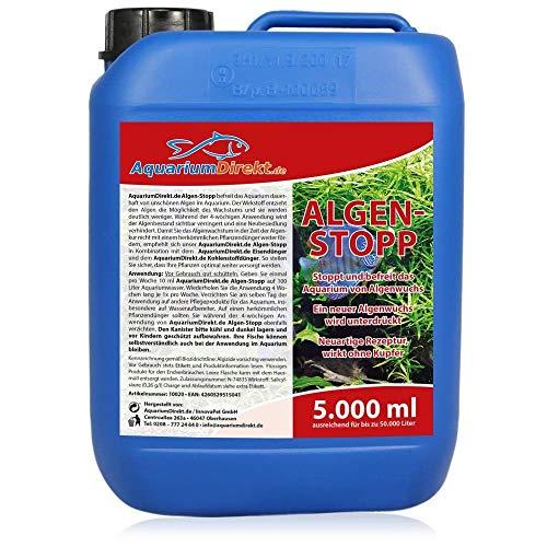 AquariumDirekt Algen-Stopp (GRATIS Lieferung in DE - Flüssiger Algenvernichter, Algenentferner für Ihr Aquarium - Stoppt und befreit nachhaltig Algenwuchs, neuartiger Rezeptur ohne Kupfer), Größe:5 L