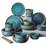 XLNB Steingut Geschirr Set, modern Teller Set,Keramik tafelservice speiseteller, Vintage Geschirr bunt,Fine Porcelain Crockery, Blue Dinner Plates, Deep Soup Plates,Serving Dishes 28-Piece