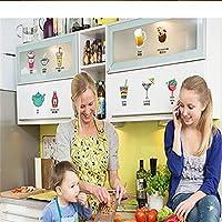 ステッカー壁画漫画ワイングラス冷却壁ステッカーキッチン透明ステッカーファッション小さな家の装飾