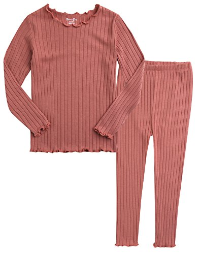 VAENAIT BABY Kids Girls Long Sleeve Modal Sleepwear Pajamas 2pcs Set Shirring Pink M