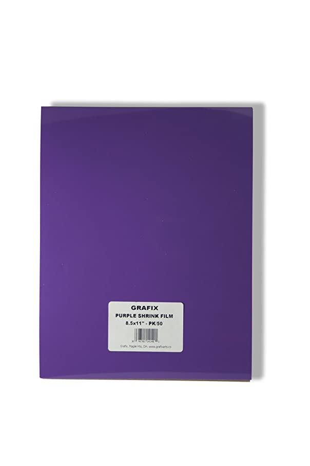 Grafix KSF50-P 8-1/2-Inch by 11-Inch Shrink Film, Purple, 50-Pack