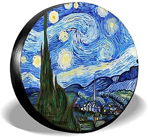 Van Gogh Starry Sky - Cubierta para neumáticos de repuesto,poliéster,universal,de 14 pulgadas,para ruedas de repuesto,para remolques,vehículos recreativos,SUV,ruedas de camiones,camiones,caravanas,ac