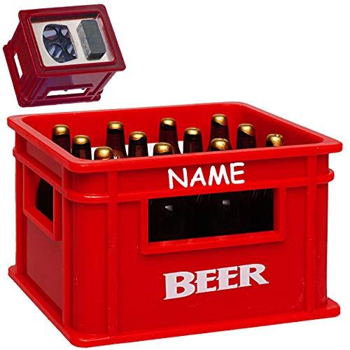 alles-meine.de GmbH Flaschenöffner & Magnet - Bierkasten rot - inkl. Name - sehr stabil - Magnete z.B. für Kühlschrank - Kühlschrankmagnet / Magneten - Deko Dekofigur Bierflasche..