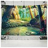 QJIAHQ Bosque de Setas Castillo Tapiz Aventura sueño Tapiz Colgante de Pared Hippy Tapiz Pared de la habitación de los niños 230x150 cm