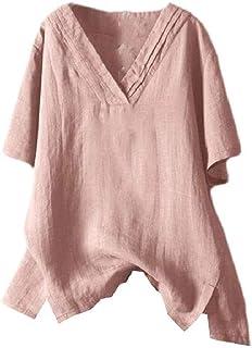 FSSE Women's V-Neck Plus Size Short Sleeve Solid Linen T-Shirt Tops Blouse