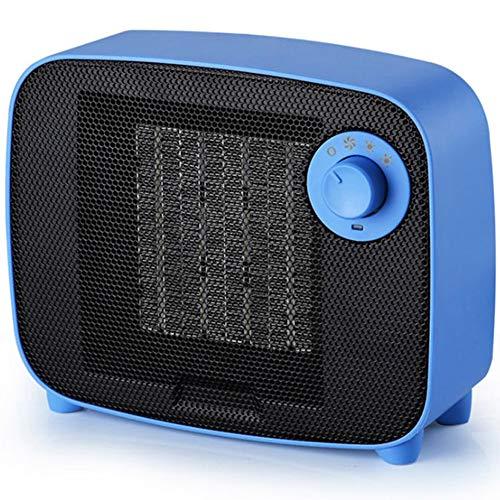EastMetal Mini Calefactor de Aire Caliente, PTC Calentador de Cerámica con 3 Modos Control de Perilla, Sistema Antivuelco Calefactor, para Hogar, Dormitorio,Azul