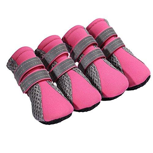 QIAONAI 犬の靴  シューズ  犬靴 柔らかく 履きやすい  メッシュ  通気性 足裏保護  肉球 滑り止...