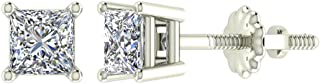 Diamond Earrings for Women Men Princess Cut 14K Gold Ear studs (G, VS1)