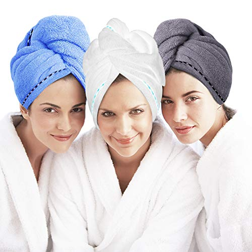 3 Pack Microfiber Hair Towel, Hair Drying Towels Wrap Turban, Super Anti Frizz Absorbent & Soft Head Towel for Curly, Long & Thick Hair