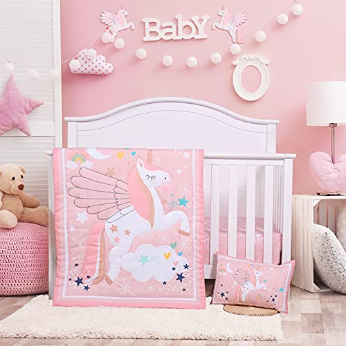 Crib Bedding Set for Girls - Pink Baby Nursery Bedding Sets - 3 Pieces Crib Quilt Fitted Crib Sheet Toddler Pillowcase Soft Star Printed Baby Bedding Set