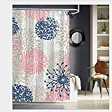 Puloa Floral Mixed Blooms Blush Pink Navy Blue Gray Beige Shower Curtains with 12 Hooks Bathroom Curtain 72' x 72' (1)