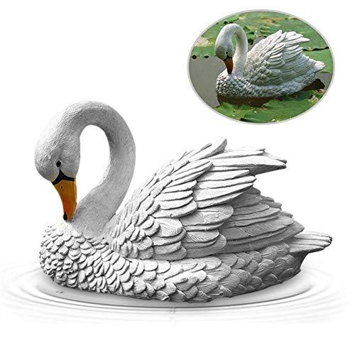 Jinclonder Simulatie Swan Sculptuur, decoratie voor visvijver, tuin, koiteieik, meer, zwembaden, binnenplaats, steen, aquarium landschap en nog veel meer