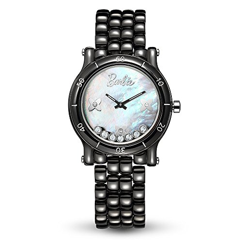 Barbie Orologio donna in ceramica, quadrante in madreperla decorato con Cristallo, resistente all'acqua 3ATM, Bianco, Nero#W50317L (Nero)