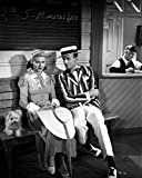 Fred Astaire and Ginger Rogers Seated on Bench with Dog