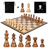 High Polymer Weighted Chess Pieces 3.75 Inch King Figures Chess Games Standard Competition Chess Pieces with Extra 2 Queens 2 Storage Bag Extra Gift Large Folding Portable 19 inch Chess Board Set