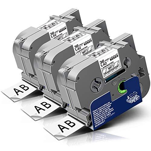 Labelwell Tz TZe-M61 Tape 36mm x 8m Black On Matt Clear Compatible for Brother TZeM61 TZ-M61 Label Cassette for Brother P-touch PT-P900W PT-P950NW PT-3600 PT-9200PC PT-9400 PT-9500PC PT-9600 Printer
