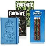 Fortnite Material Escolar Para Niños, Set de Papeleria Incluye 3 Cuadernos A5 Diseño Black Knight y 6 Lápices de Colores, Edición Limitada Regalos Fortnite Niño Niña Adolescentes