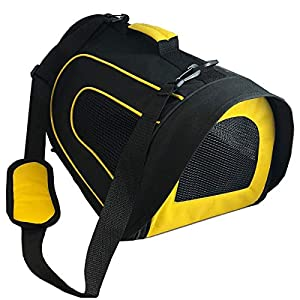Pet Magasin Soft-Sided Pet Travel Carrier (Airline Approved) for Cats, Small Dogs, Puppies & Other Pets by (Black & Yellow)