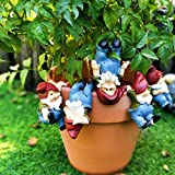 FixWout 6Pack 3inch Flowerpot Landscaping Gnome Elves Home Decorating Idyllic Garden Decoration Pendant Weatherproof Funny Lawn Gnome Statue