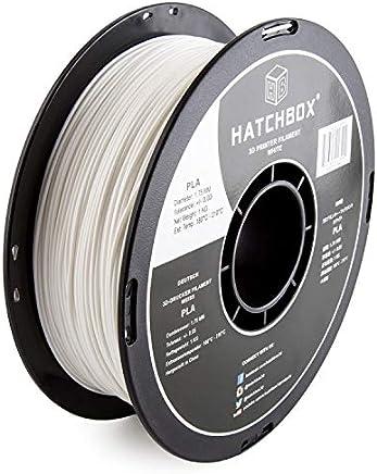 HATCHBOX PLA 3D Printer Filament, Dimensional Accuracy +/- 0.03 mm, 1 kg Spool, 1.75 mm, White