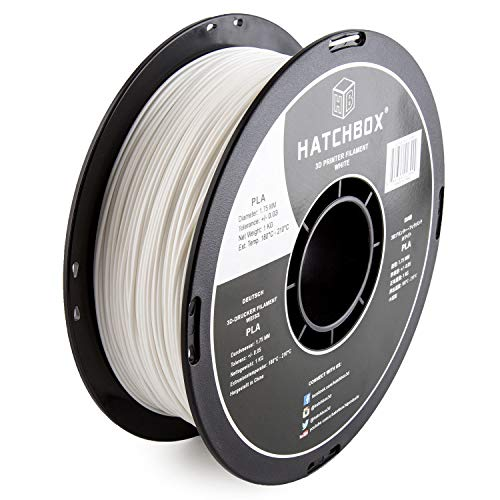 HATCHBOX PLA 3D Printer Filament, Dimensional Accuracy +/- 0.03 mm, 1 kg Spool, 1.75 mm, White