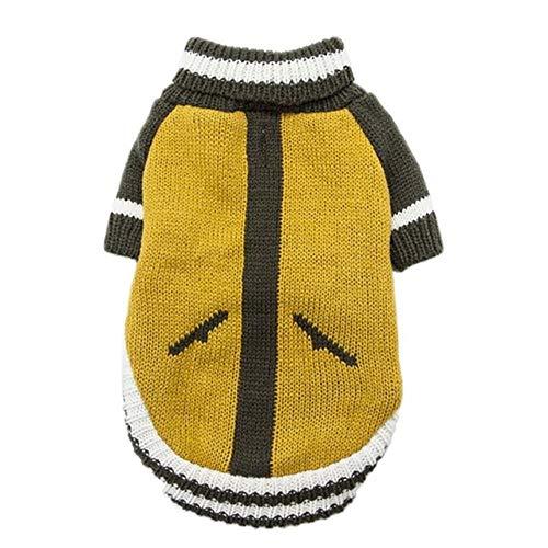 Pun Kleine middelgrote grote honden warme zachte gebreide kleding winterkleding winter huisdier katten en honden kleding coltrui hond truien, geel, Maat