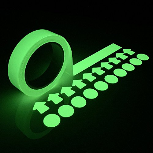 COLIBROX Glow in the Dark Tape - Luminous Stickers 30 Feet x 1 Inch Waterproof Masking, Gaffer and Emergency Use Tape | Glow-in-the-Dark Duck Tape has a Very Bright Photo-luminescent Glow