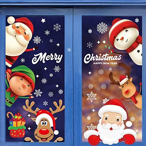 AivaToba Christmas Window Stickers Reusable, 8 Sheets Christmas Window Clings Stickers Snowflake Santa Claus Snowman Reindeer Xmas Glass Stickers for Christmas Indoors Decorations Window Display