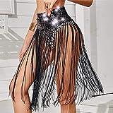 Campsis Sequin Belly Dance Skirt Black Tassel Hip Scarf Shiny Dance Warp Sequin Fringe Skirt Belts Nightclub Ball Party Rave for Women and Girls