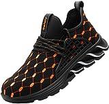 Zapatillas de Seguridad Hombres Zapatos de Trabajo con Punta de Acero Calzado de Seguridad(Naranja,44)
