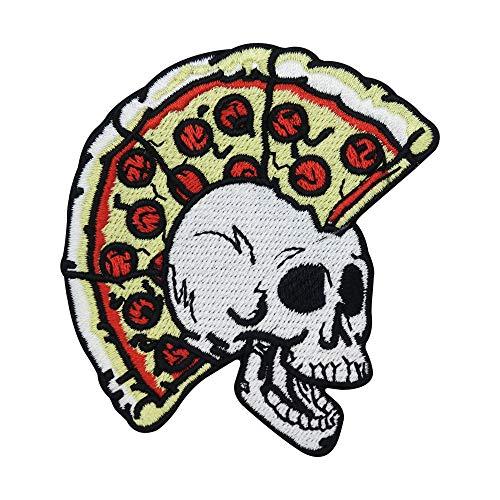 Finally Home Parche termoadhesivo, diseño de calavera con pizza, para planchar