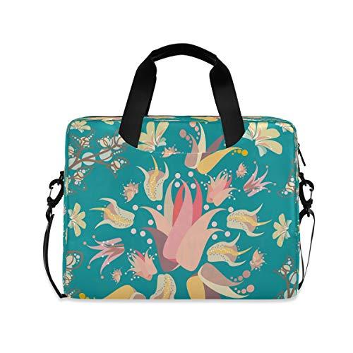 Lily Floral Flowers Turquoise 15.6' 16' Laptop Case Sleeve Briefcase Computer Shoulder Bag W/Strap