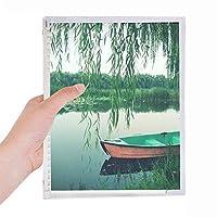 柳の葉のボートは湖の写真 硬質プラスチックルーズリーフノートノート