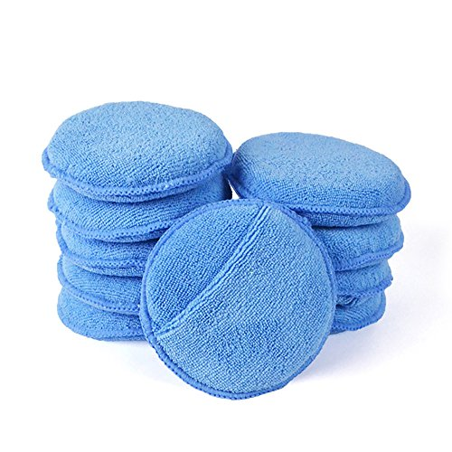 AutoCare Microfiber Wax Applicator, Ultra-soft Microfiber Wax Applicator Pads with Finger Pocket Wax Applicator for Cars Wax Applicator Foam Sponge (Blue, 5' Diameter, Pack of 10)