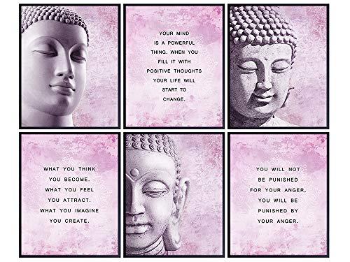 Buddha Statue Wall Art - Buddha Wall Decor - Zen Decor - Meditation Decor - Buddhist Wall Art - Yoga Wall Decor - Meditation Gifts - Spa Wall Decor - Spiritual Decor - Inspirational Quotes - Boho Art
