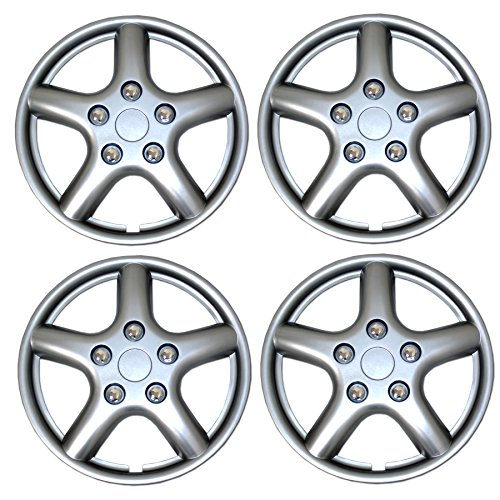 TuningPros WSC3-028BS15 4pcs Set Snap-On Type (Pop-On) 15-Inches Metallic Silver Hubcaps Wheel Cover