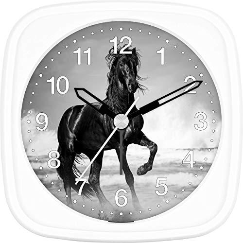 Eurotime Kinder Wecker für Mädchen mit Pferde-Motiv, Kunststoffgehäuse und Kunststoffglas, geräuscharmer Wecker, kein Ticken, mit Licht und Weckwiederholung, 27008-00