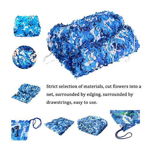 Camouflage Netting Blue Camo Netting For Fences Hide Fabric Woodlands Cover Decoration 2x3M 2x4M 3x3M 2x6M (Color : Blue, Size : 5x8m/16x26ft)